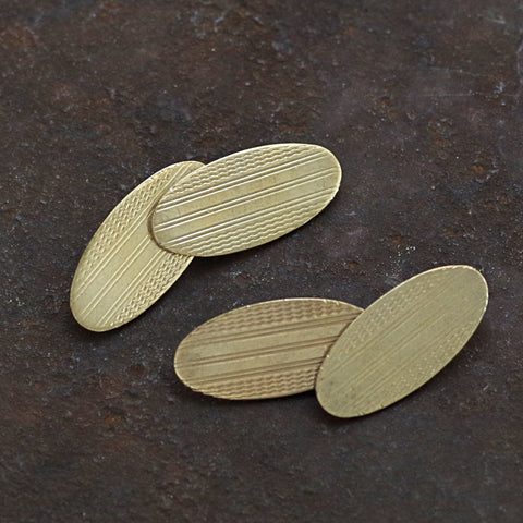 Edwardian Gold on Silver Machine Turned Cufflinks