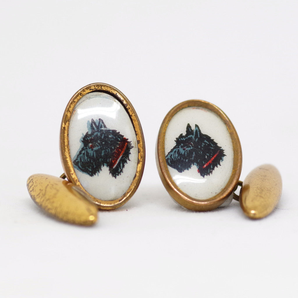 1930s Black Scottish Terrier Gilded Cufflinks