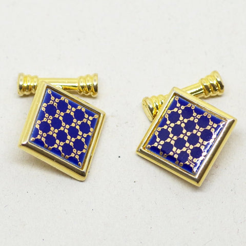 Blue and Yellow Enamel Cufflinks