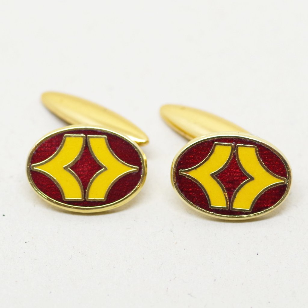Red and Yellow Enamel Cufflinks