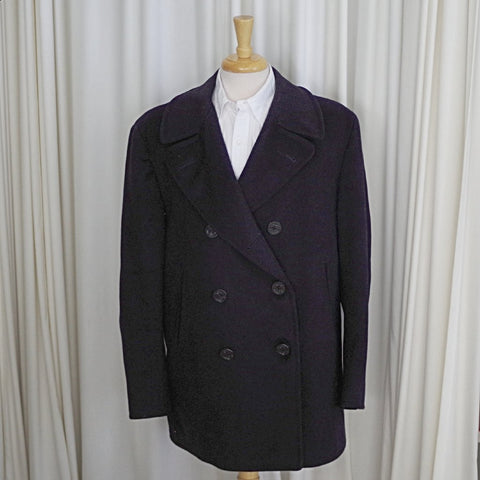 Vintage Heavy Navy Peacoat- 44
