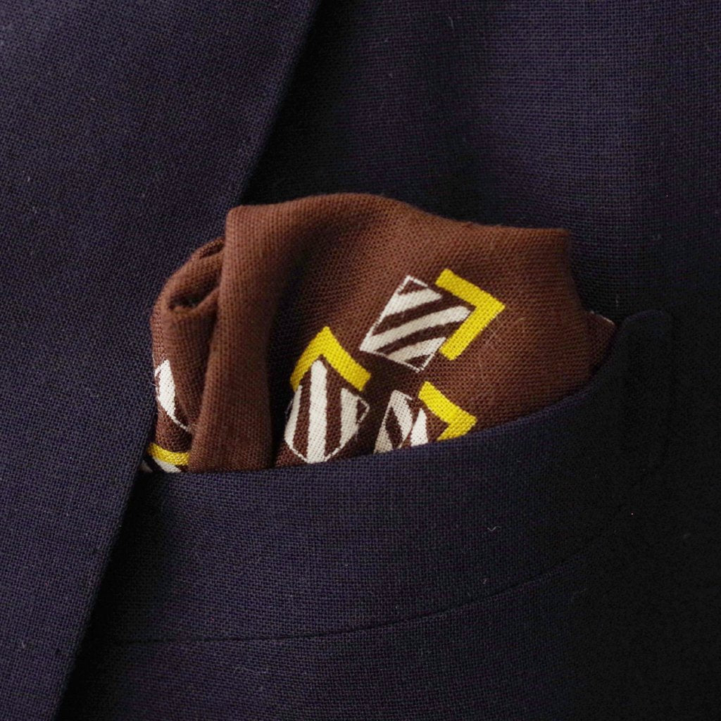 Modern Brown Box Motif Linen Pocket Square by Put This On