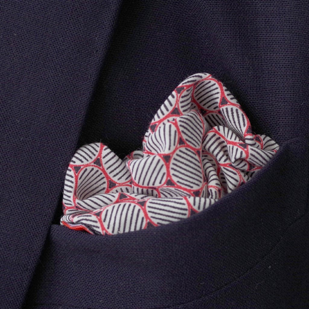 Black and Red Oval Motif Silk Pocket Square by Put This On