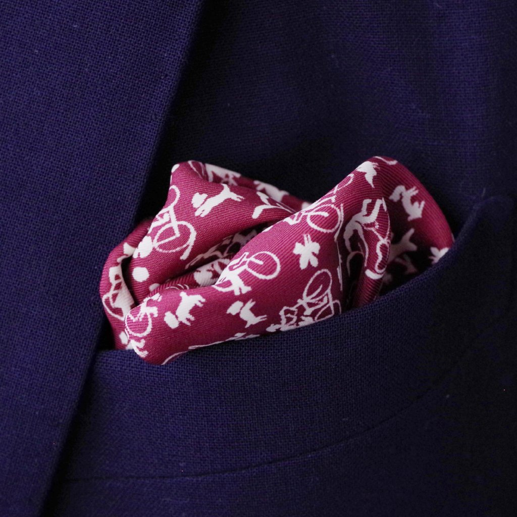 Maroon Bicycle Rayon Pocket Square by Put This On