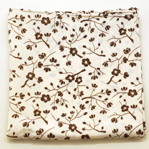 Placid Brown Leafy Silk Pocket Square by Put This On
