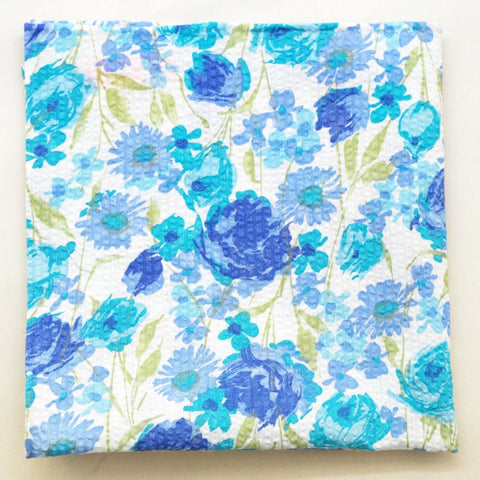 Blue Floral Seersucker Pocket Square by Put This On