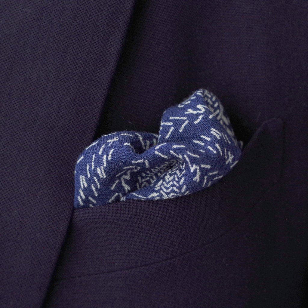 Geometric Navy Rayon Pocket Square by Put This On
