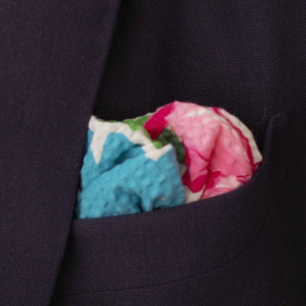 Big Pink and Blue Floral Seersucker Pocket Square by Put This On