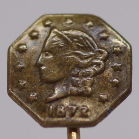 Lady Liberty Three Cent Coin Stick Pin