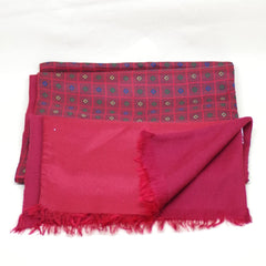 Red Silk and Wool Foulard Scarf