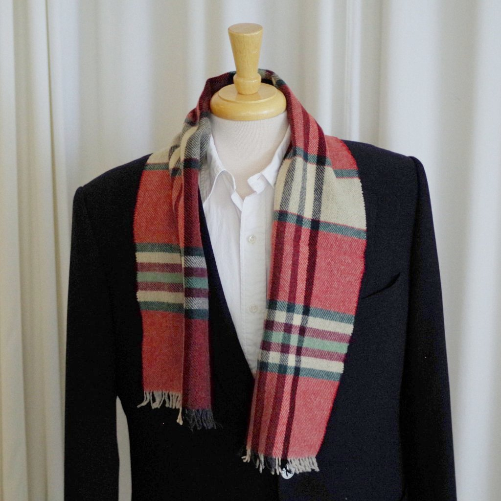Green and Red Wool Check Scarf