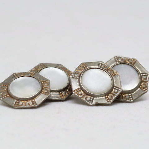 Vintage Silver Colored and White Cufflinks