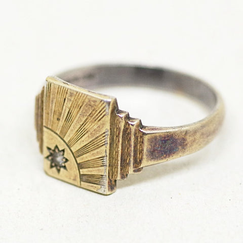 9ct Gold on Silver Sunrise Ring