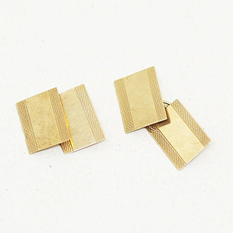9kt Gold Etched Cufflinks