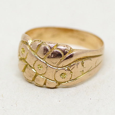 Antique 9ct Gold Floral Ring