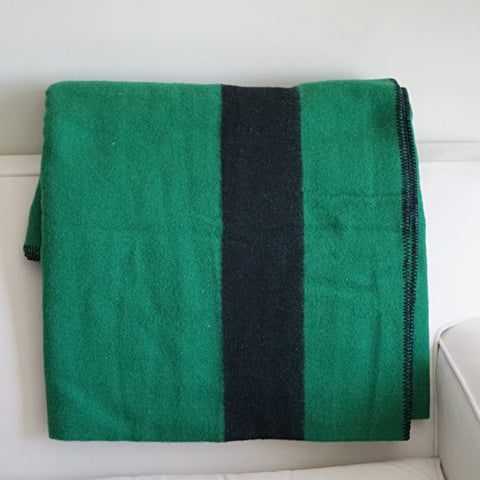 LL Bean Green and Black Wool Blanket