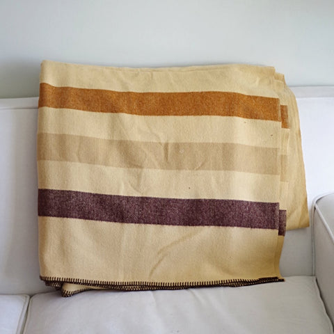 Vintage Striped Tan Wool Blanket