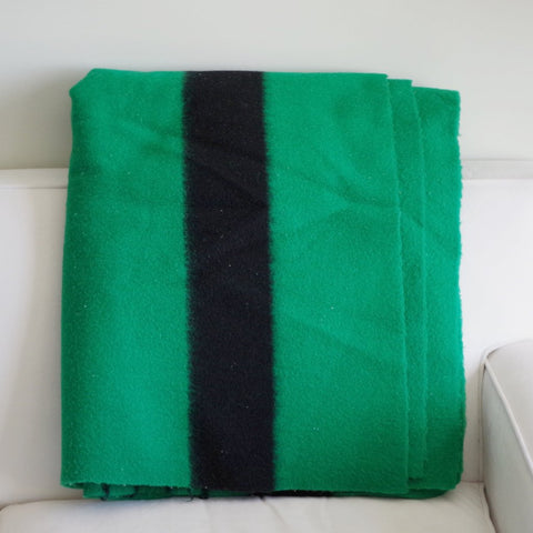 Vintage Hudson Bay Green Wool Blanket