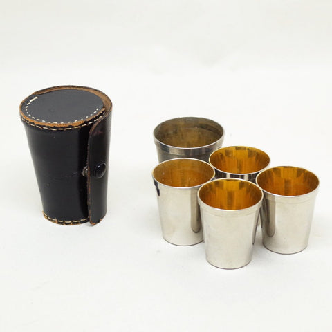 Cup Set w/ Leather Caddy