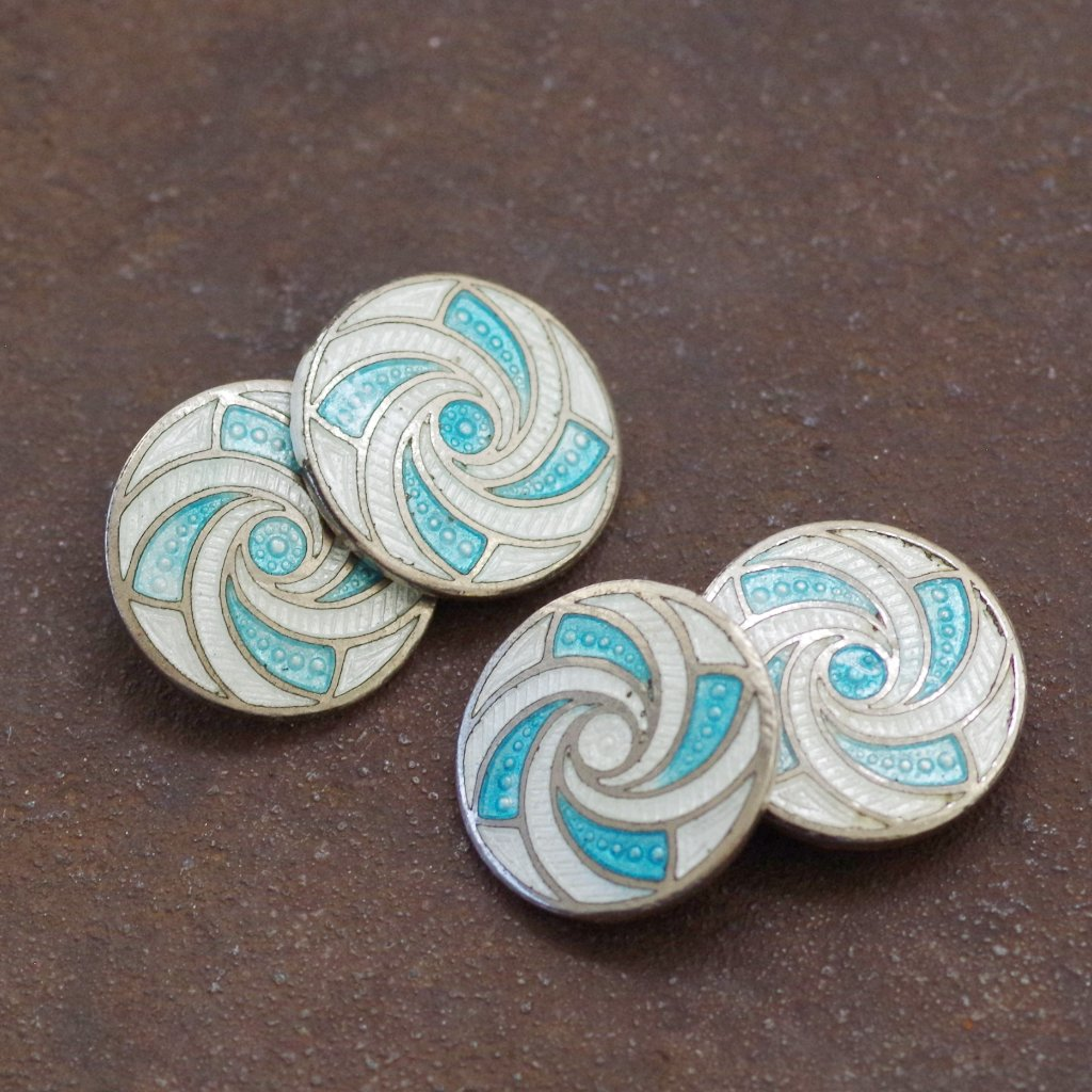 Swirling Blue and White Cufflinks