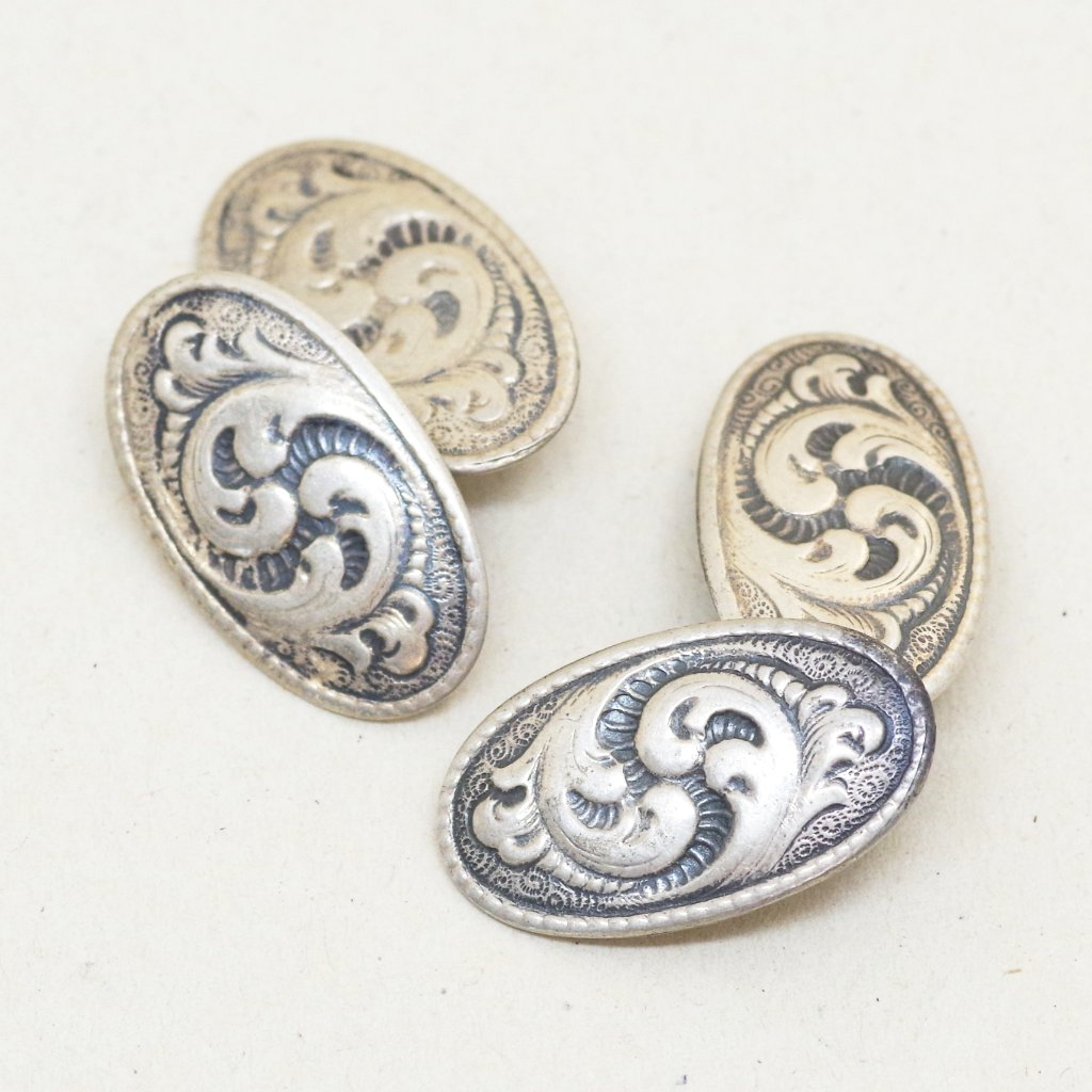 Baroque British Silver Cufflinks