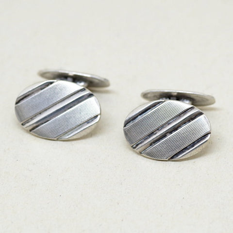 Silver Diagonal Etched Cufflinks