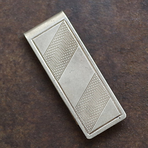 Silver Etched Striped Money Clip