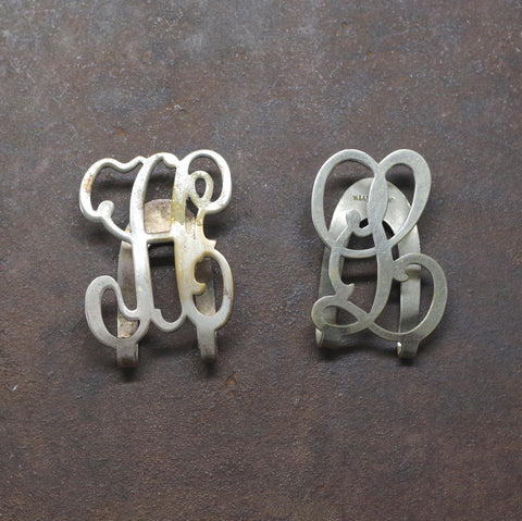 "Baroque ""A"" or ""L"" Monogrammed Silver Plated Letter Money Clips"