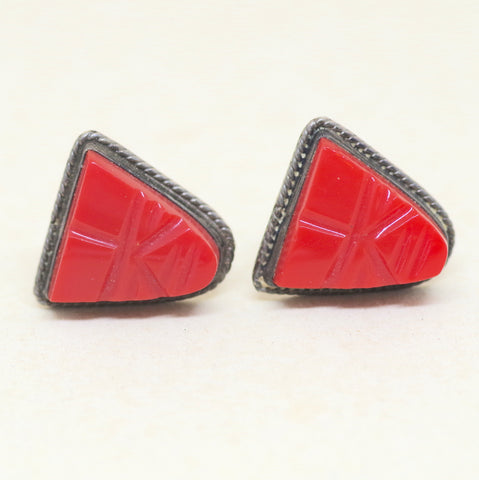 Sterling Red Triangular Cufflinks