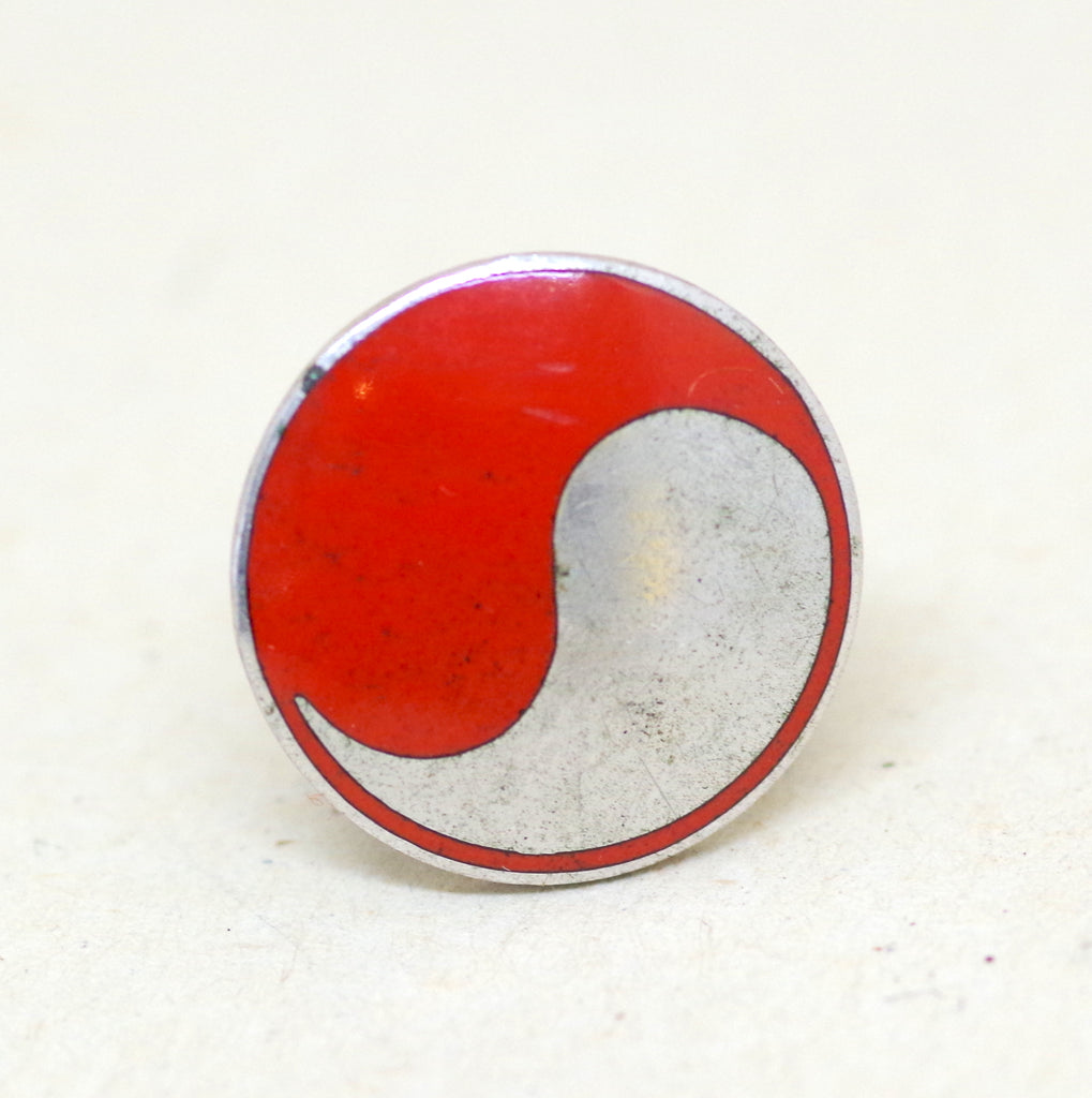 Silver Red Yin and Yang Pin