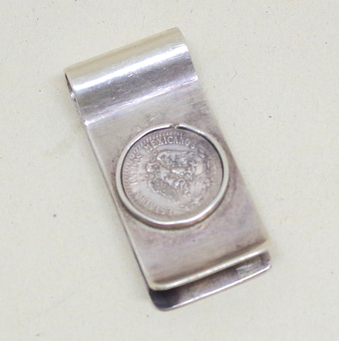 Silver Mexican Peso Money Clip