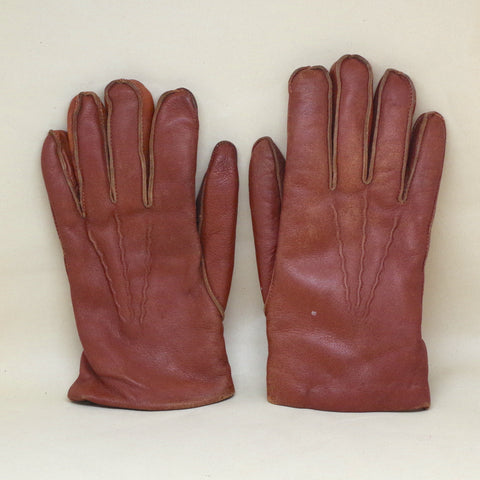 Vintage Rabbit Fur Lined Leather Gloves- S