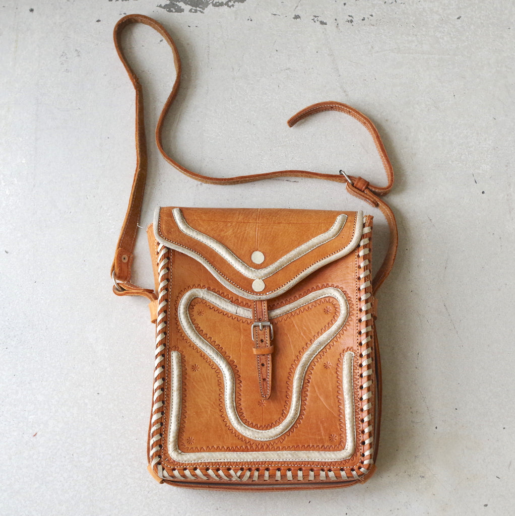 Mexican Hand-Stitched and Tooled Leather Satchel