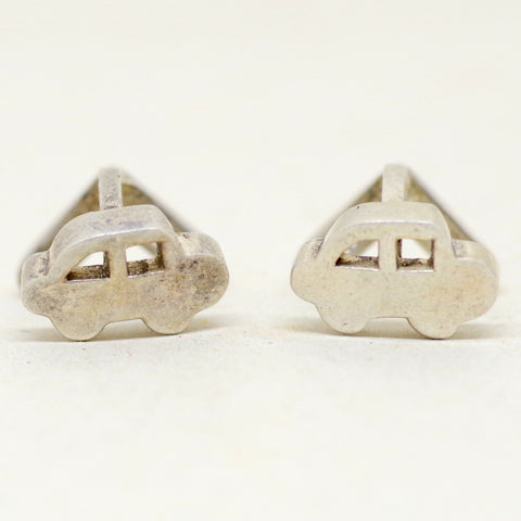 Cute Silver Car Cufflinks