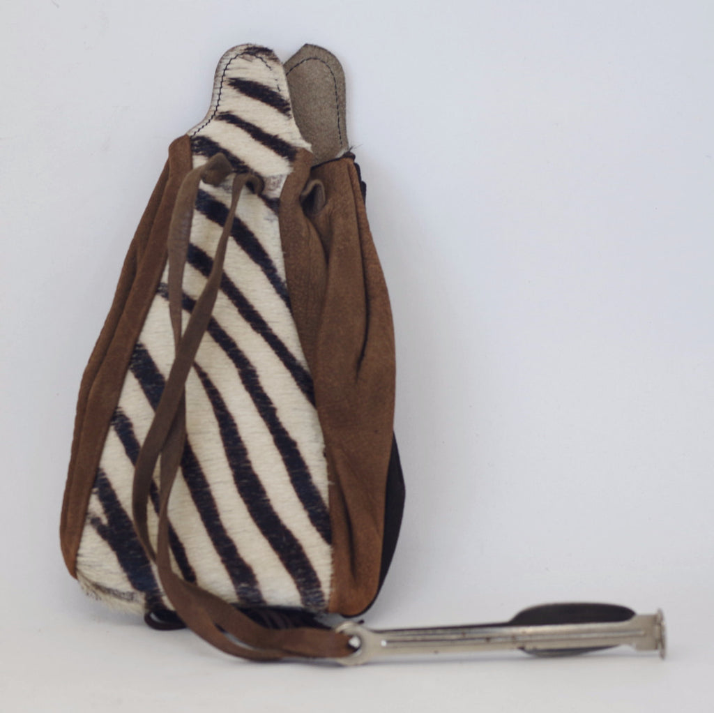 Zebra Skin and Leather Tobacco Pouch w/ Multitool