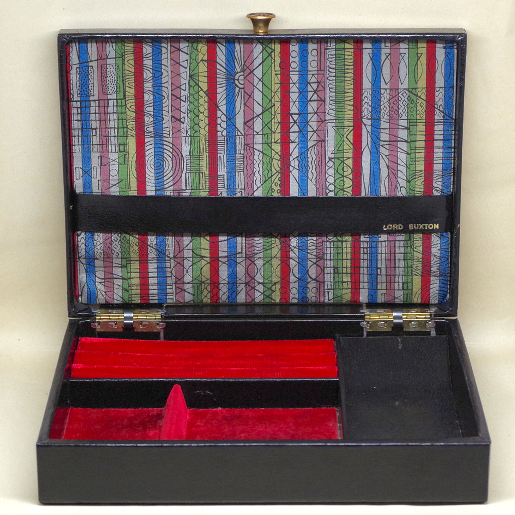 Vintage Black Leather Lord Buxton Jewelry Box