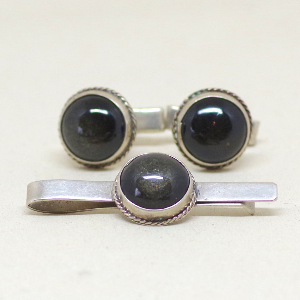 Sterling Black Cabochon Dress Set - Cuff Links and Tie Bar