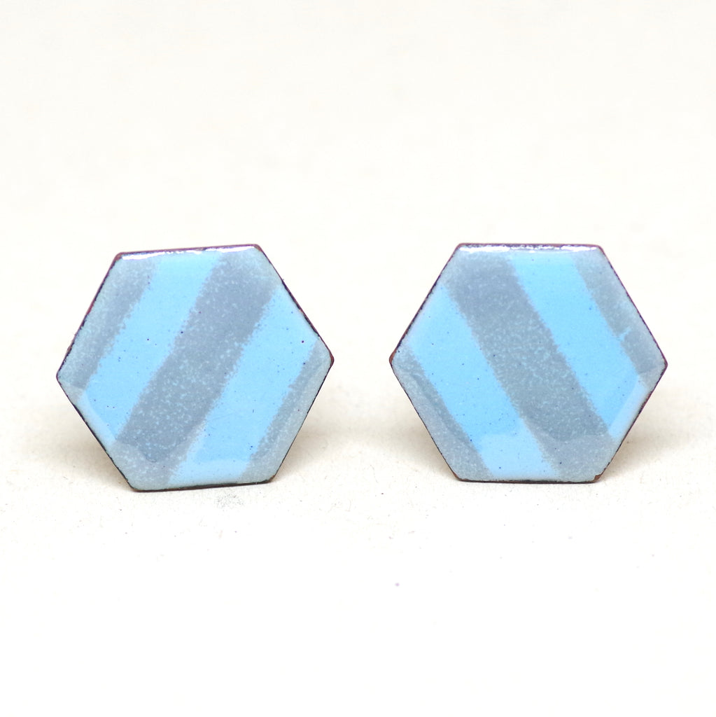 Blue Striped Hexagonal Cufflinks