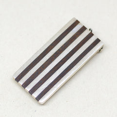 Sterling Silver and Wood Striped Money Clip