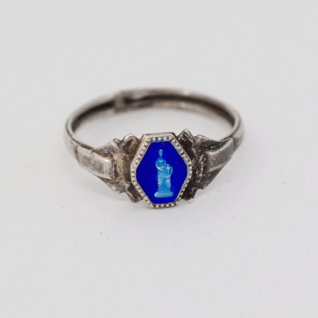 Vintage Greek Statue Blue Ring
