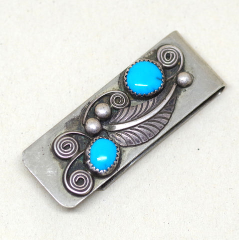 Silver Leaf Turquoise Money Clip