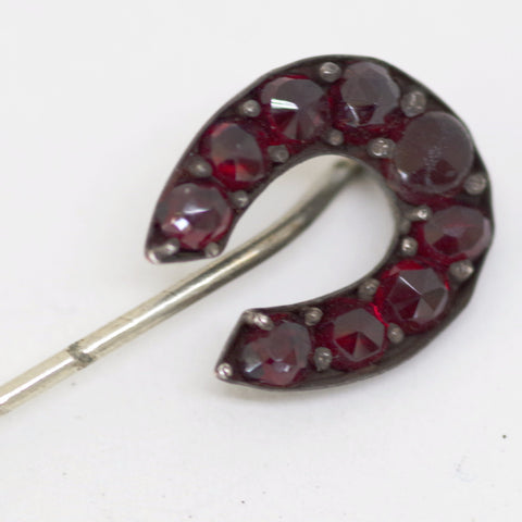 Curved Red Jeweled Stick Pin
