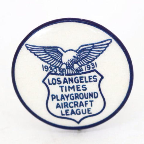1930s Los Angeles Times Playground Aircraft League Pin