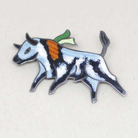 Vibrant Enamel on Sterling Bull Pin