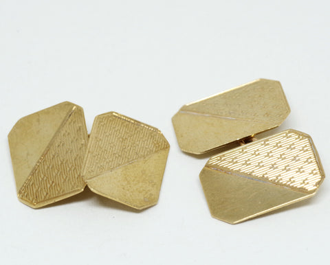 Stunning Gold Edwardian Half-Patterned Cufflinks