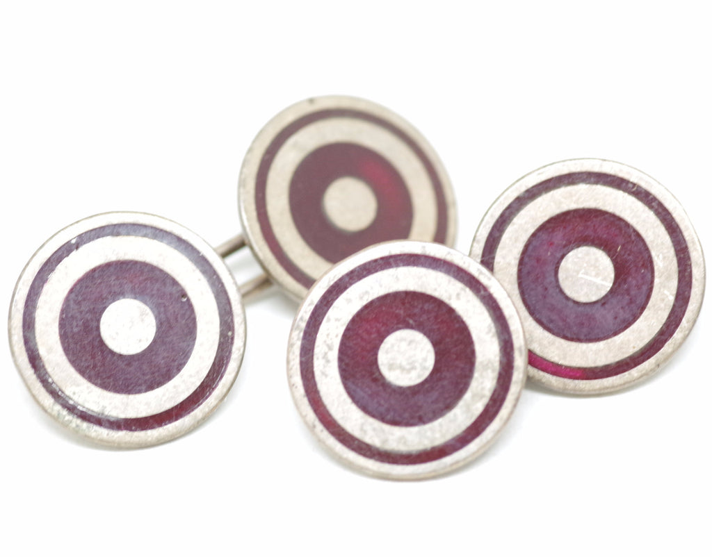 Sterling Cufflinks w/ Circular Red Pattern