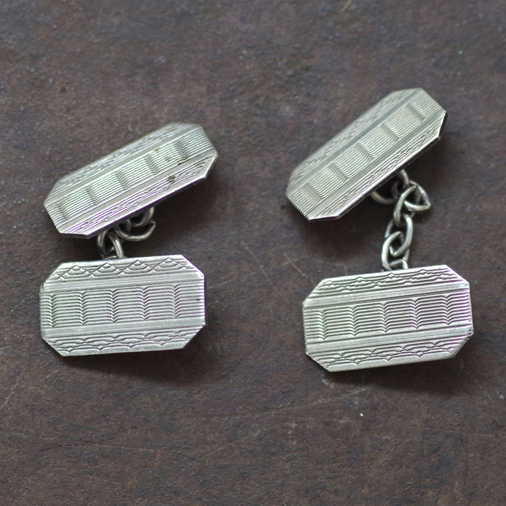 Silver Multipattern Etched Cufflinks