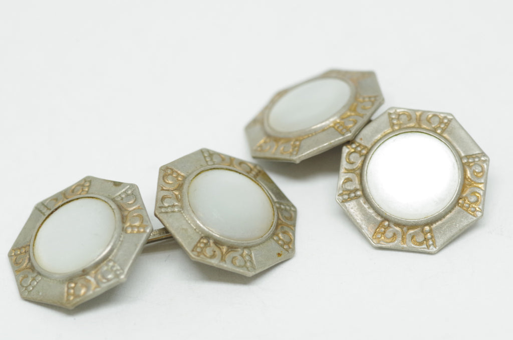 Elegant Mother of Pearl Double-Sided Cufflinks