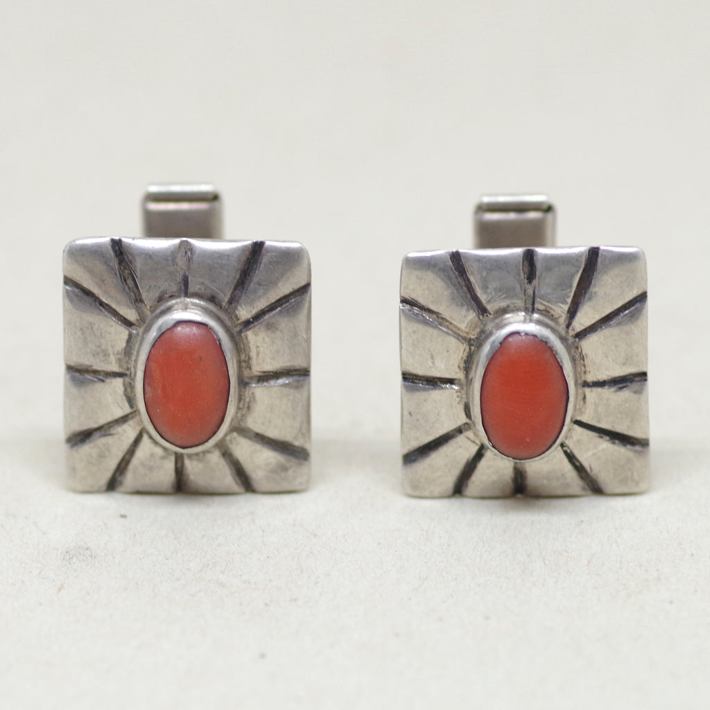 Sterling Silver Orange Southwestern Cabochon Cufflinks
