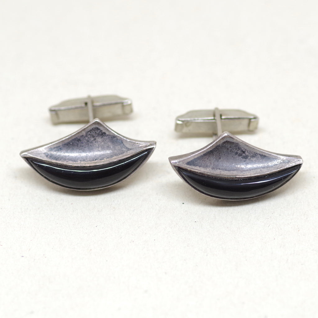 1960s Sterling Silver Black Swooping Cufflinks
